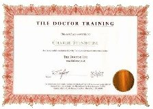 Tile Doctor training certificate