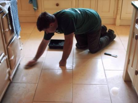 Tile Doctor in Action Sealing a Kitchen floor